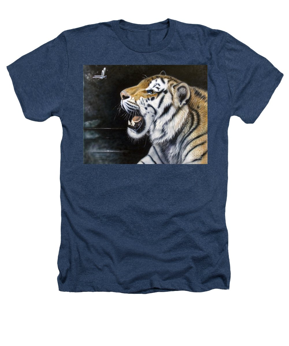 Tiger Heathers T-Shirt featuring the painting Dragonfly by Sandi Baker