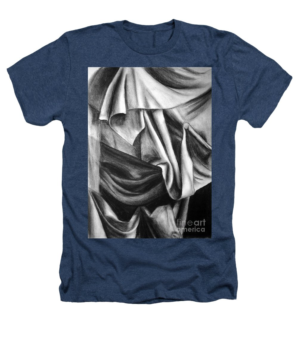 Charcoal Heathers T-Shirt featuring the drawing Drapery Still Life by Nancy Mueller