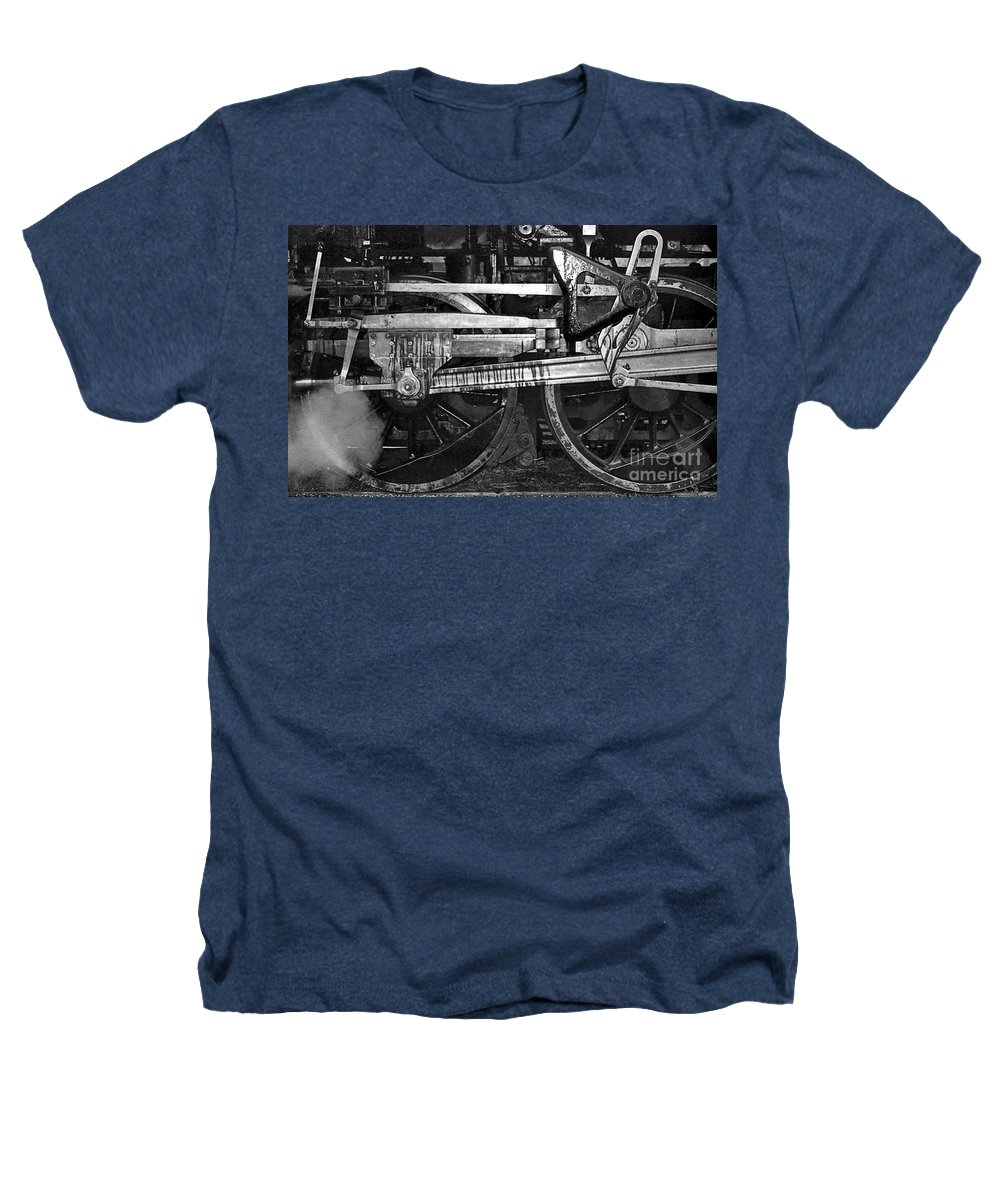 Trains Heathers T-Shirt featuring the photograph Driving Wheels by Richard Rizzo
