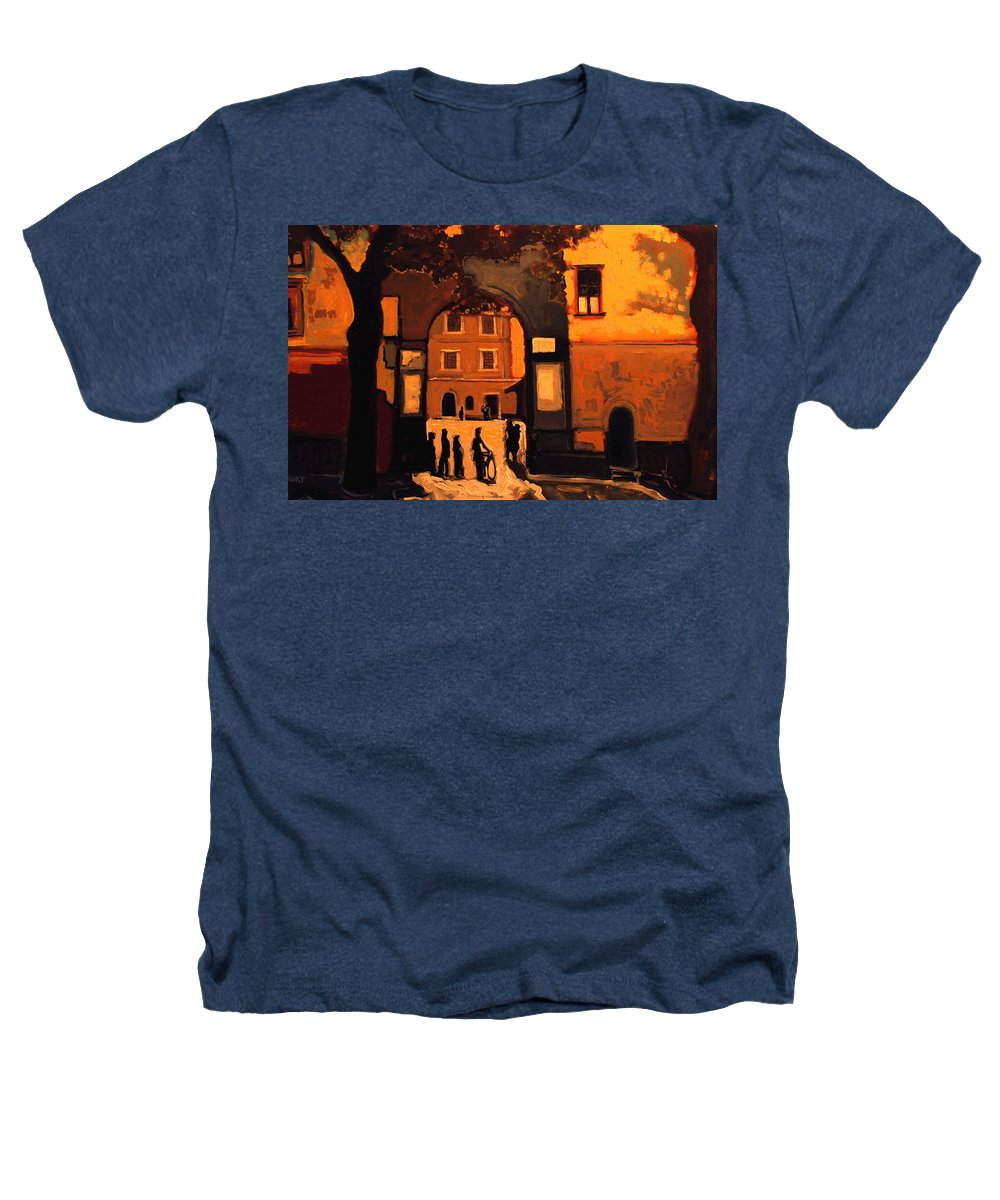 Cityscape Heathers T-Shirt featuring the painting Dusk by Kurt Hausmann