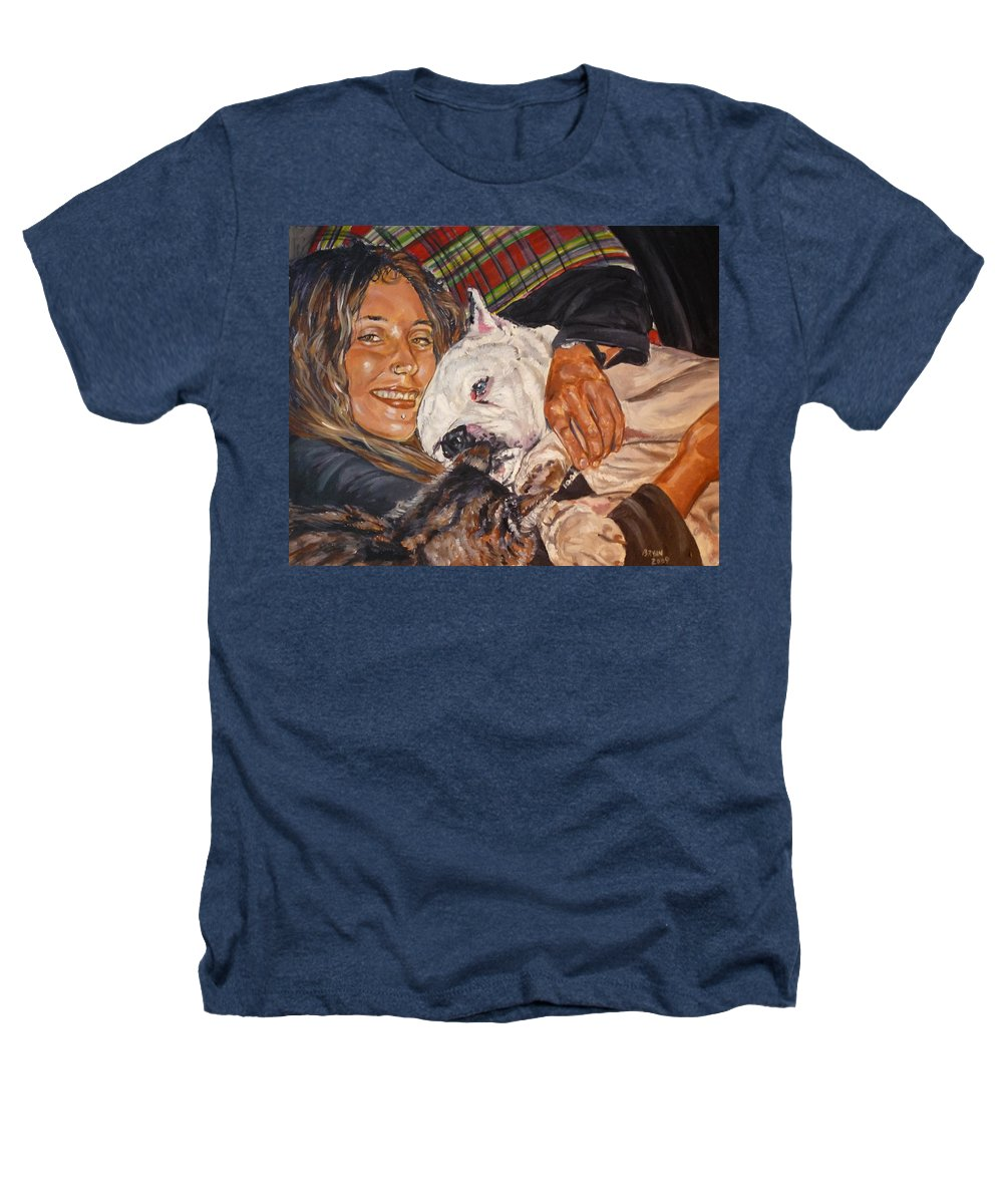 Pet Heathers T-Shirt featuring the painting Elvis And Friend by Bryan Bustard