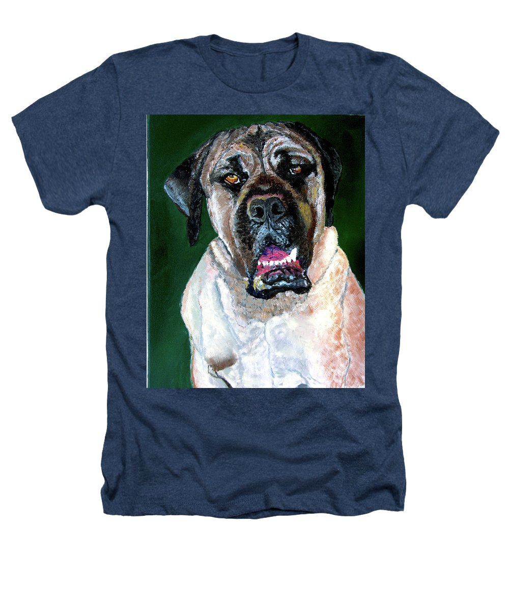 Dog Portrait Heathers T-Shirt featuring the painting Ely by Stan Hamilton