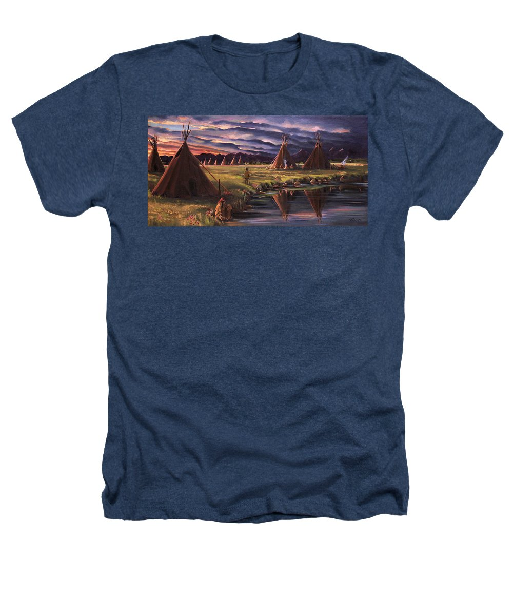 Native American Heathers T-Shirt featuring the painting Encampment At Dusk by Nancy Griswold