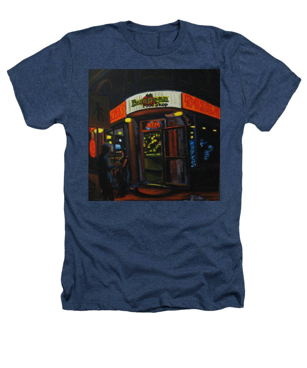 City Heathers T-Shirt featuring the painting European Food Shop by John Malone