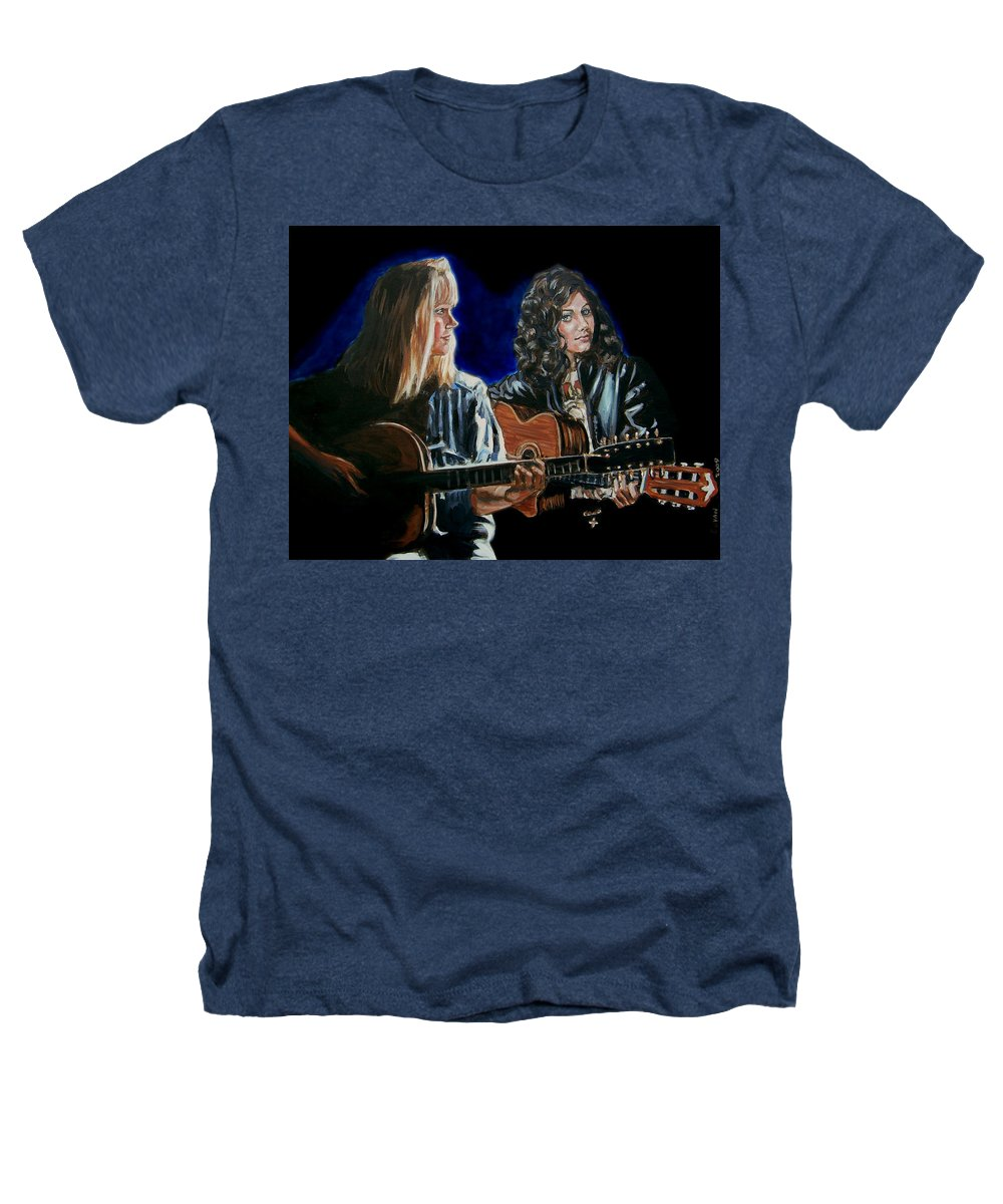 Katie Melua Heathers T-Shirt featuring the painting Eva Cassidy And Katie Melua by Bryan Bustard