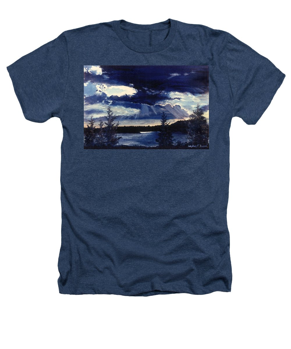 Landscape Heathers T-Shirt featuring the painting Evening Lake by Steve Karol