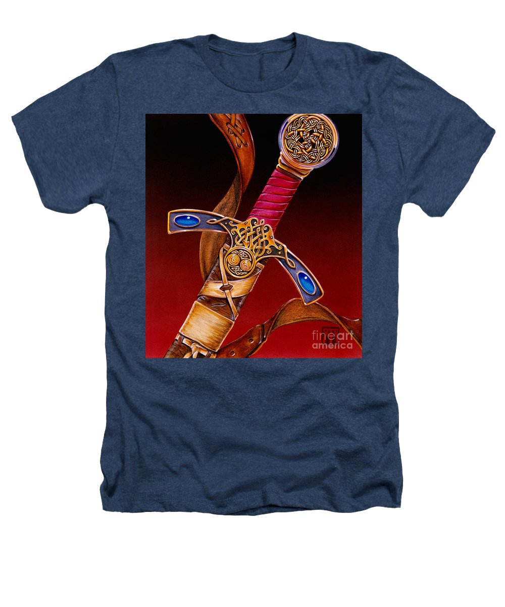 Swords Heathers T-Shirt featuring the mixed media Excalibur by Melissa A Benson