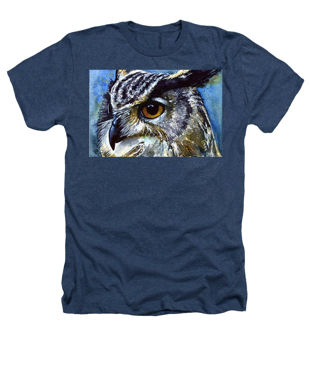 Owls Heathers T-Shirt featuring the painting Eyes Of Owls No.25 by John D Benson