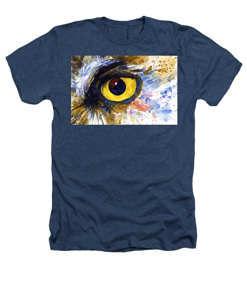 Owls Heathers T-Shirt featuring the painting Eyes Of Owl's No.6 by John D Benson