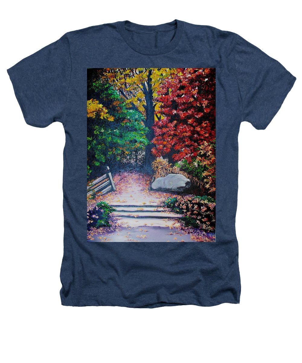 A N Original Painting Of An Autumn Scene In The Gateneau In Quebec Heathers T-Shirt featuring the painting Fall In Quebec Canada by Karin Dawn Kelshall- Best