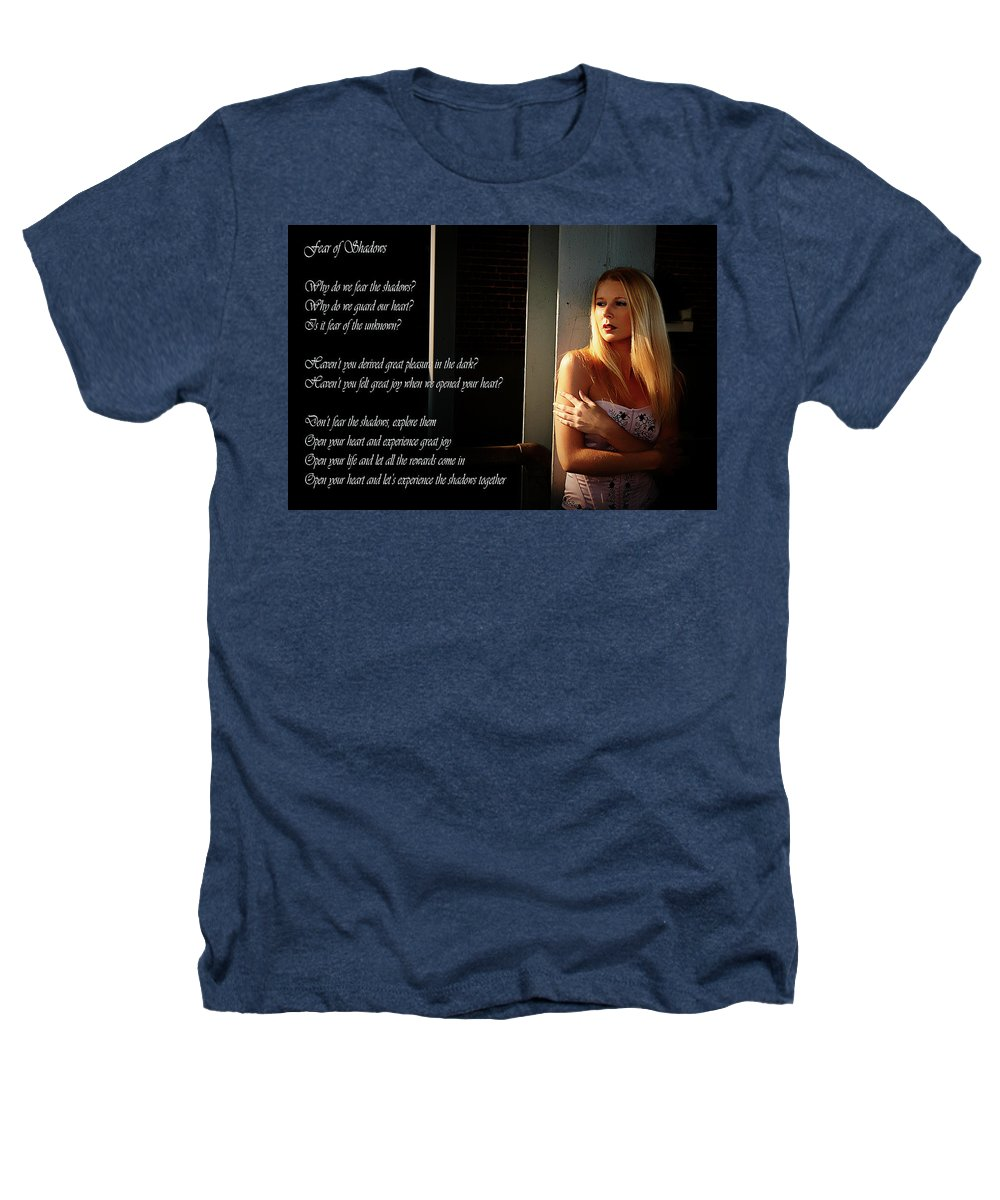 Clay Heathers T-Shirt featuring the photograph Fear Of Shadows by Clayton Bruster