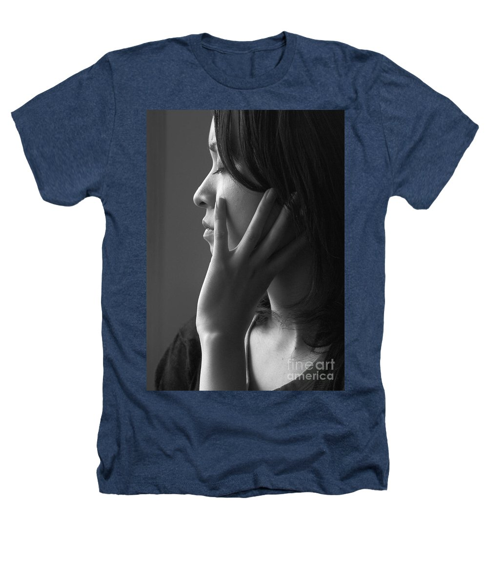 Woman Girl Candid Monochrome Hand Heathers T-Shirt featuring the photograph Ferry Girl by Avalon Fine Art Photography