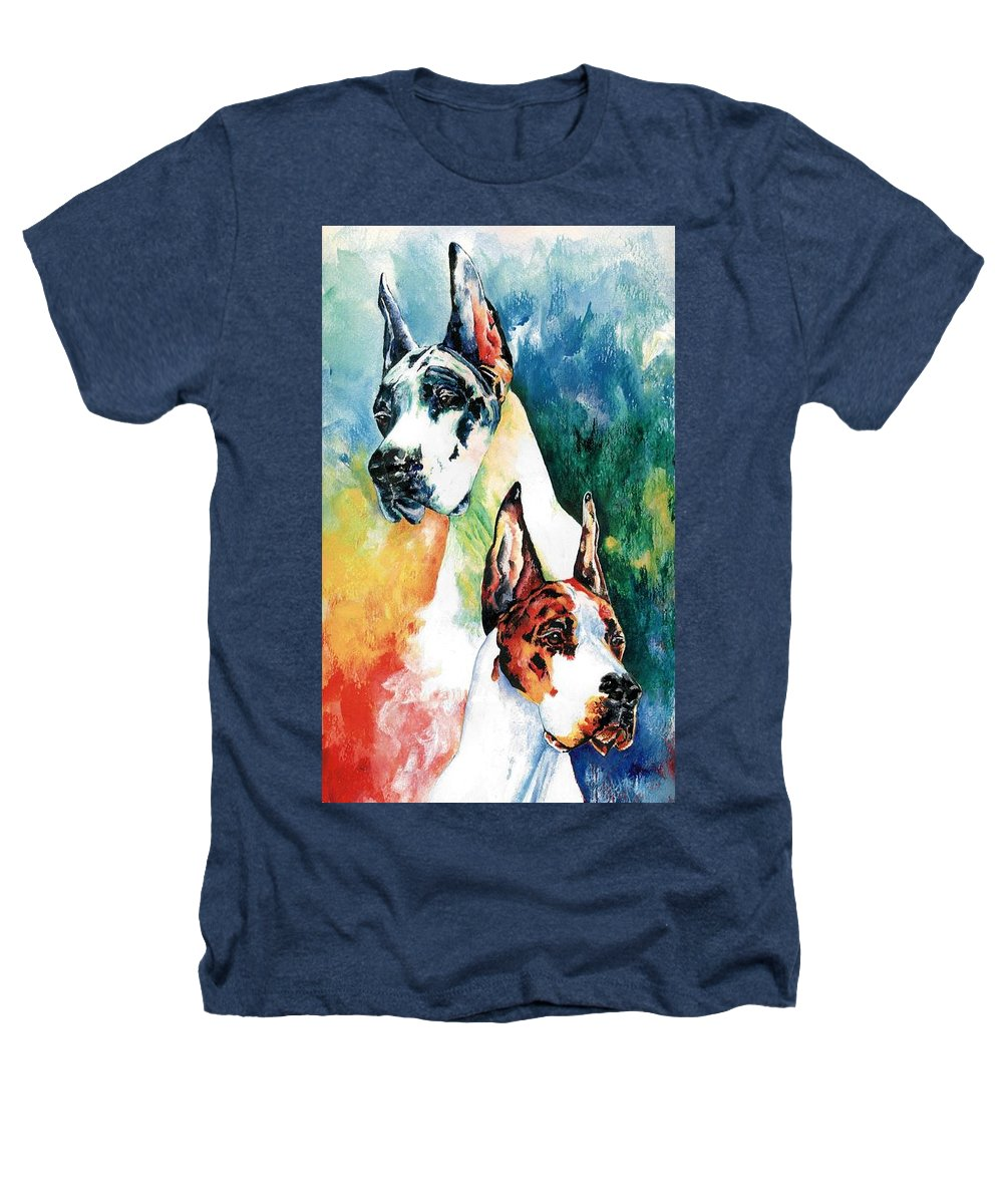 Great Dane Heathers T-Shirt featuring the painting Fire And Ice by Kathleen Sepulveda