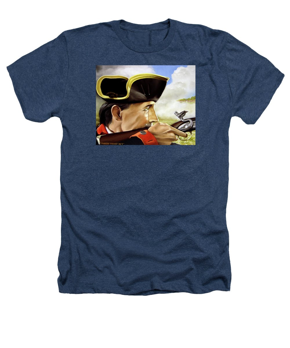 Continental Heathers T-Shirt featuring the painting First To Fight by Marc Stewart