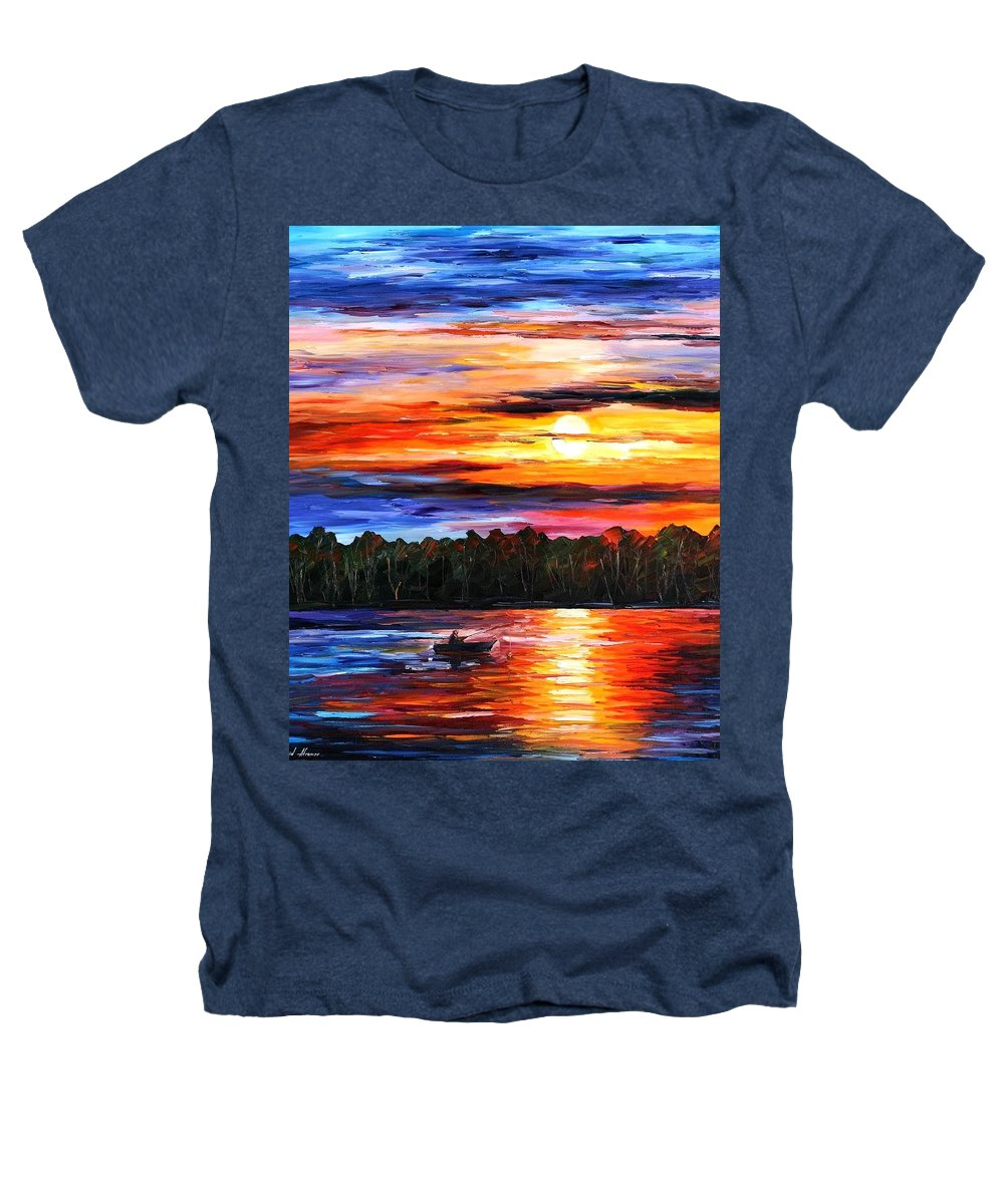 Seascape Heathers T-Shirt featuring the painting Fishing By The Sunset by Leonid Afremov