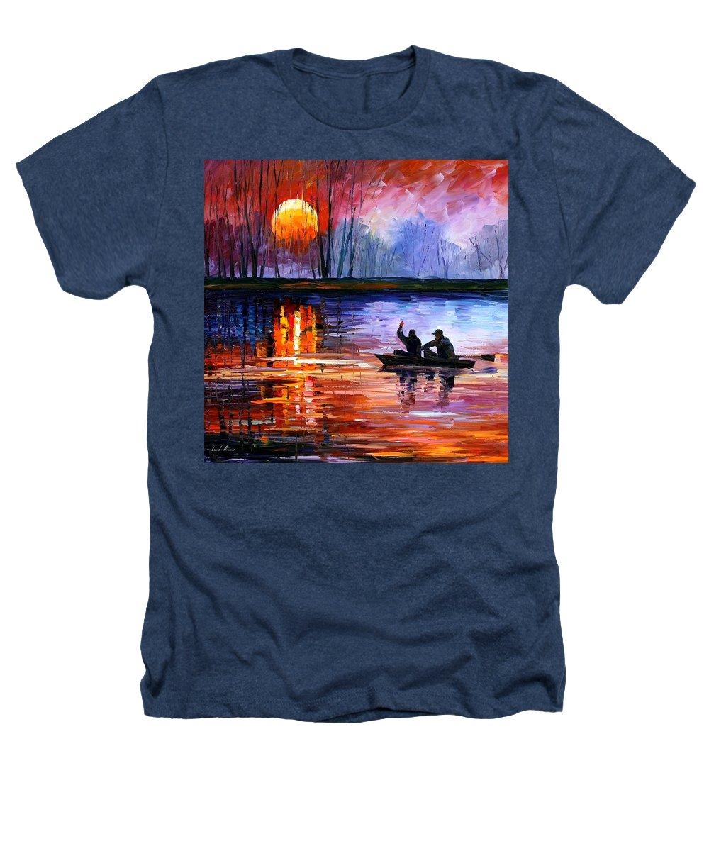 Seascape Heathers T-Shirt featuring the painting Fishing On The Lake by Leonid Afremov