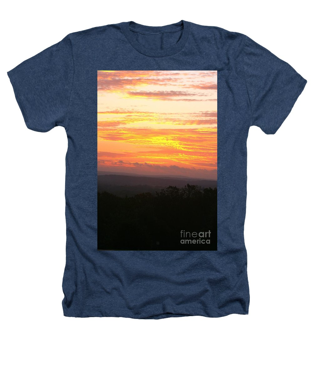 Sunrise Heathers T-Shirt featuring the photograph Flaming Autumn Sunrise by Nadine Rippelmeyer