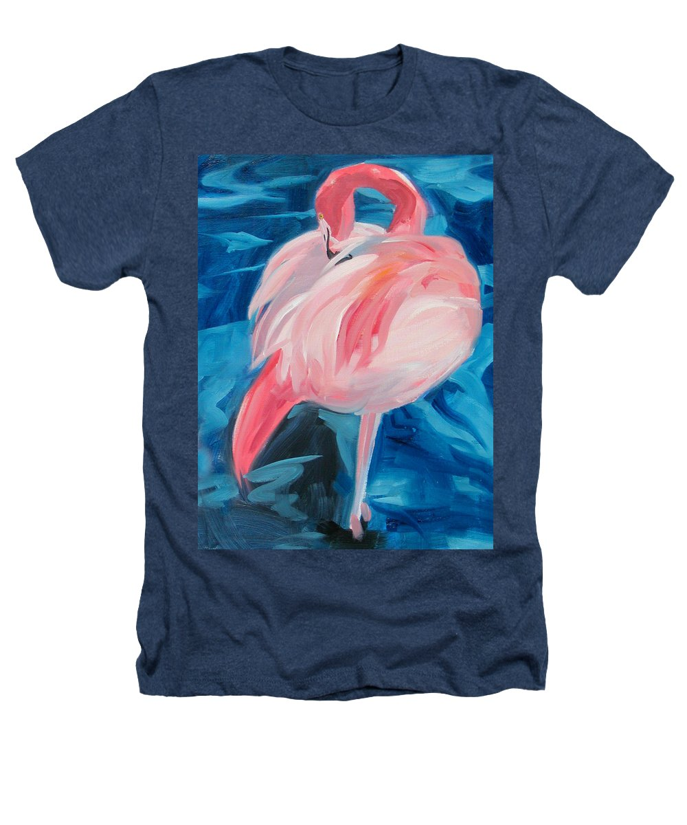 Tropical Heathers T-Shirt featuring the painting Flamingo by Neal Smith-Willow