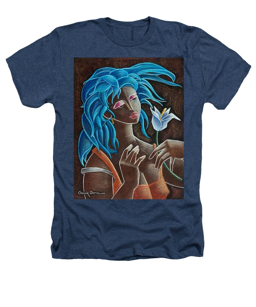 Puerto Rico Heathers T-Shirt featuring the painting Flor Y Viento by Oscar Ortiz