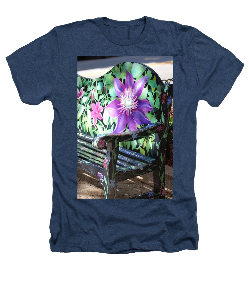 Macro Heathers T-Shirt featuring the photograph Flower Bench by Rob Hans