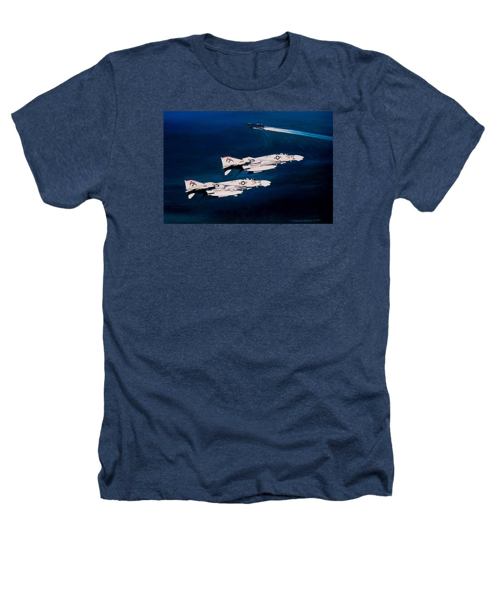 Military Heathers T-Shirt featuring the painting Forrestal S Phantoms by Marc Stewart