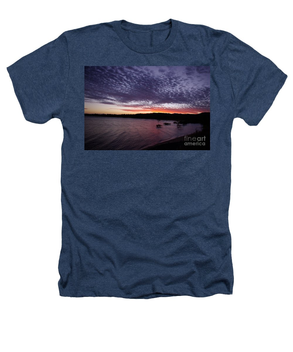 Landscape Heathers T-Shirt featuring the photograph Four Elements Sunset Sequence 7 Coconuts Qld by Kerryn Madsen - Pietsch