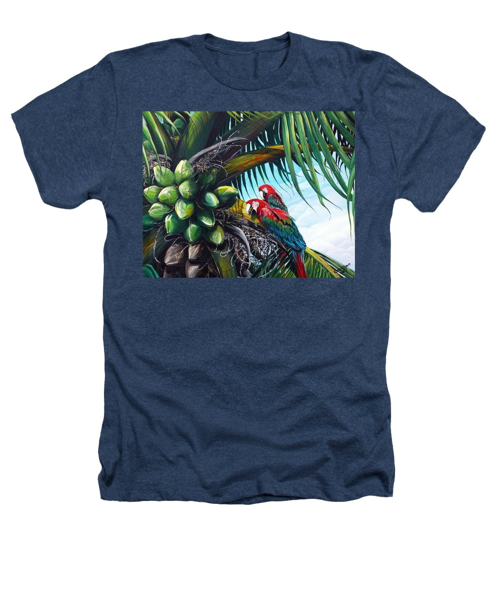 Macaws Bird Painting Coconut Palm Tree Painting Parrots Caribbean Painting Tropical Painting Coconuts Painting Palm Tree Greeting Card Painting Heathers T-Shirt featuring the painting Friends Of A Feather by Karin Dawn Kelshall- Best