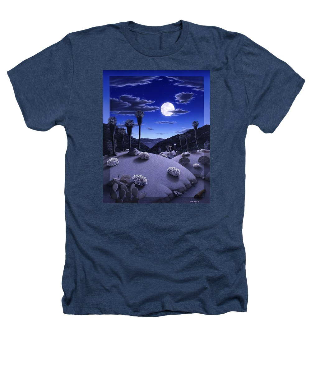 Desert Heathers T-Shirt featuring the painting Full Moon Rising by Snake Jagger