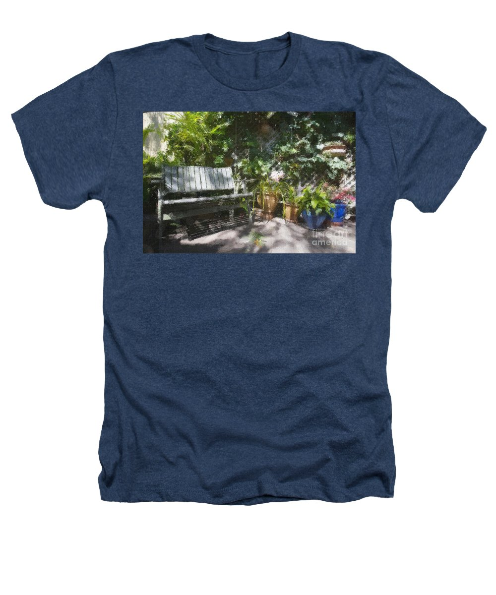Garden Bench Flowers Impressionism Heathers T-Shirt featuring the photograph Garden Bench by Avalon Fine Art Photography