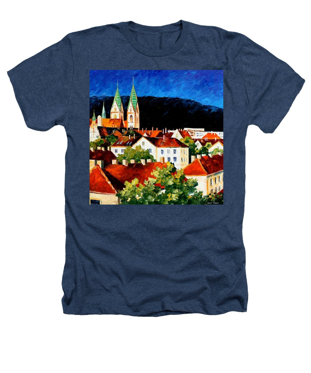 City Heathers T-Shirt featuring the painting Germany - Freiburg by Leonid Afremov