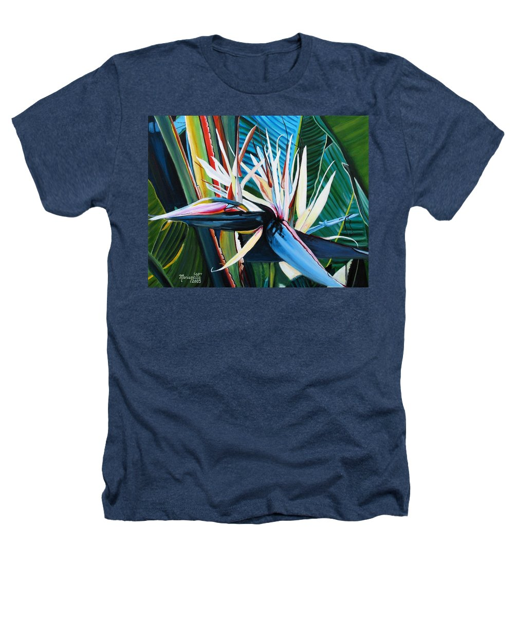Bird Heathers T-Shirt featuring the painting Giant Bird Of Paradise by Marionette Taboniar