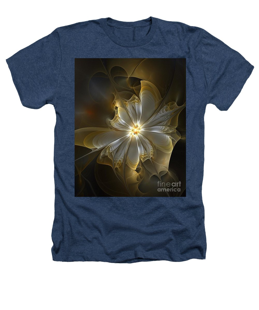 Digital Art Heathers T-Shirt featuring the digital art Glowing In Silver And Gold by Amanda Moore