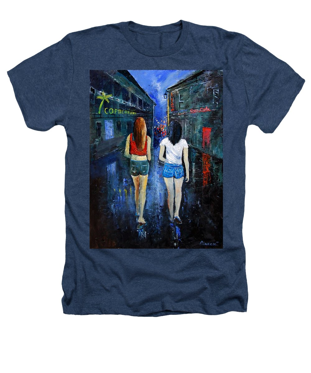 Girl Heathers T-Shirt featuring the painting Going Out Tonight by Pol Ledent