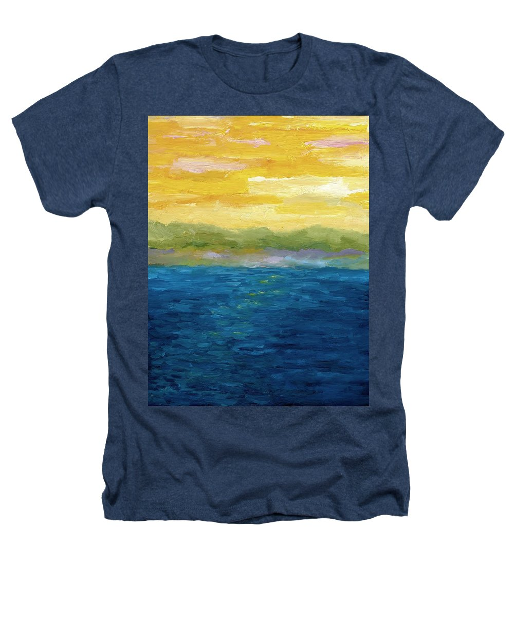 Lake Heathers T-Shirt featuring the painting Gold And Pink Sunset by Michelle Calkins