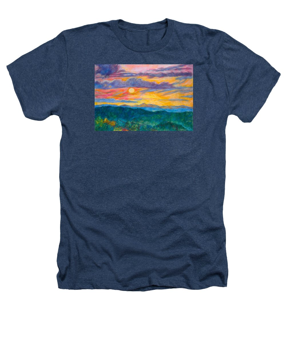 Landscape Heathers T-Shirt featuring the painting Golden Blue Ridge Sunset by Kendall Kessler