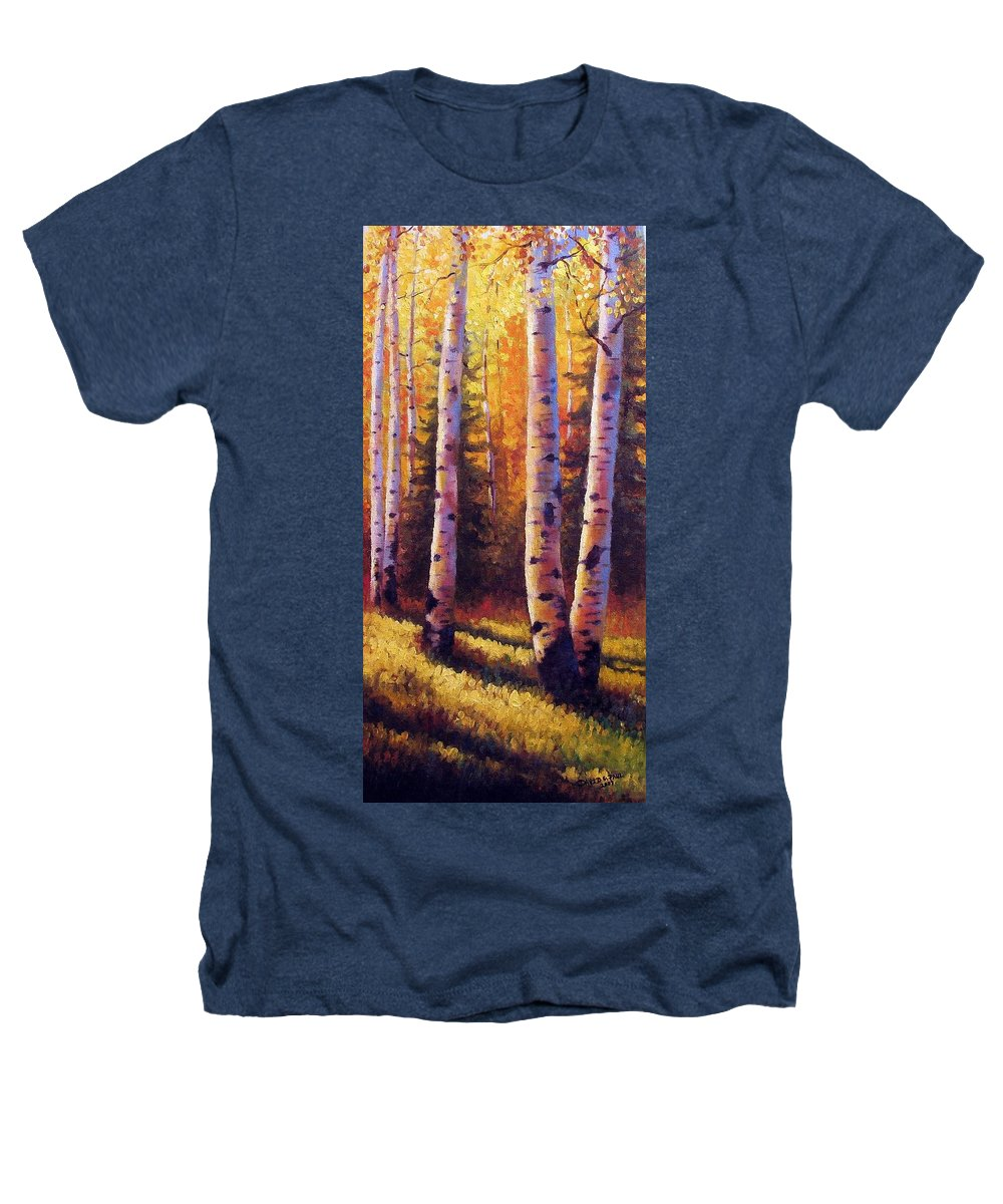 Light Heathers T-Shirt featuring the painting Golden Light by David G Paul