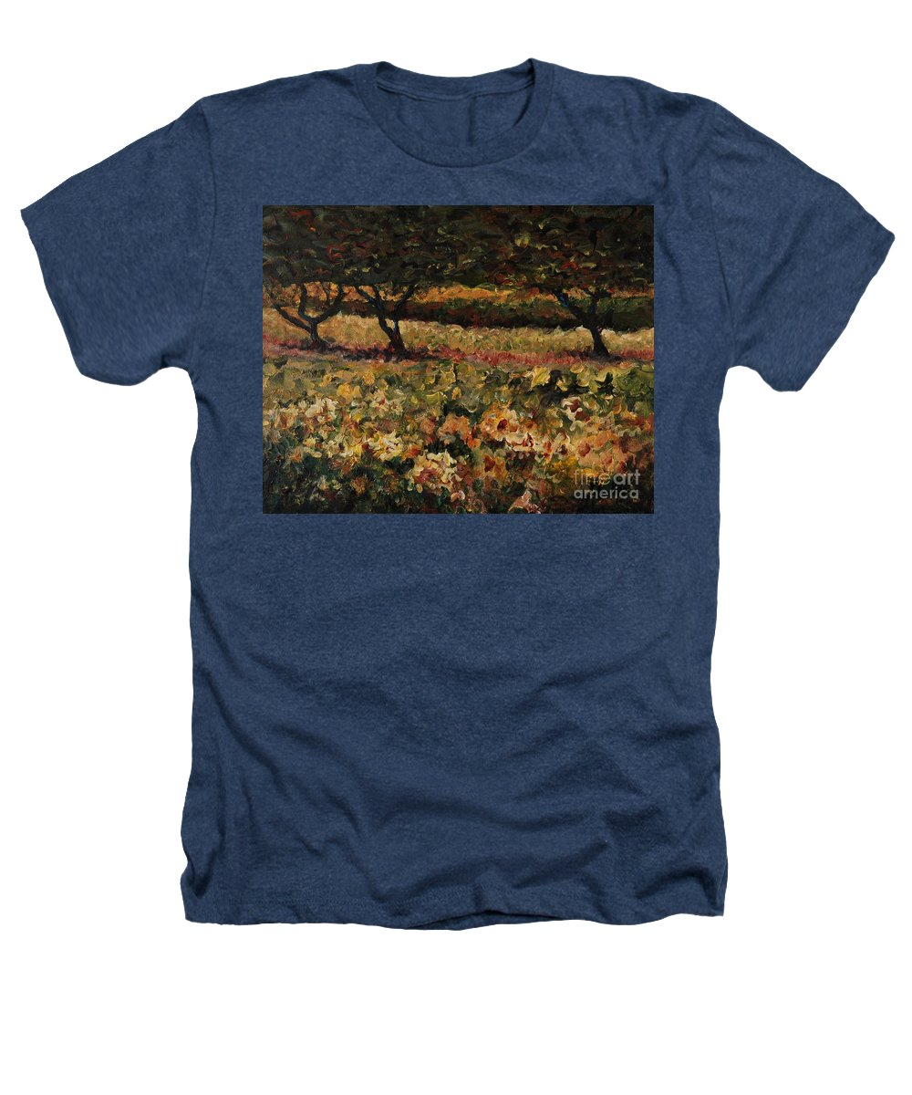 Landscape Heathers T-Shirt featuring the painting Golden Sunflowers by Nadine Rippelmeyer