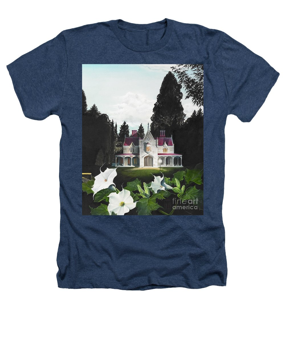 Fantasy Heathers T-Shirt featuring the painting Gothic Country House Detail From Night Bridge by Melissa A Benson