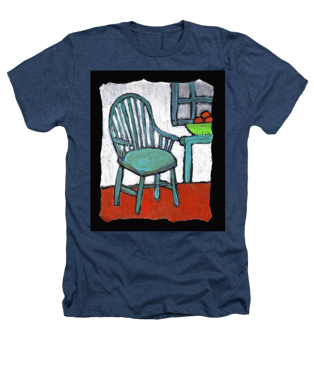 Chair Heathers T-Shirt featuring the painting Grampa's Empty Chair by Wayne Potrafka