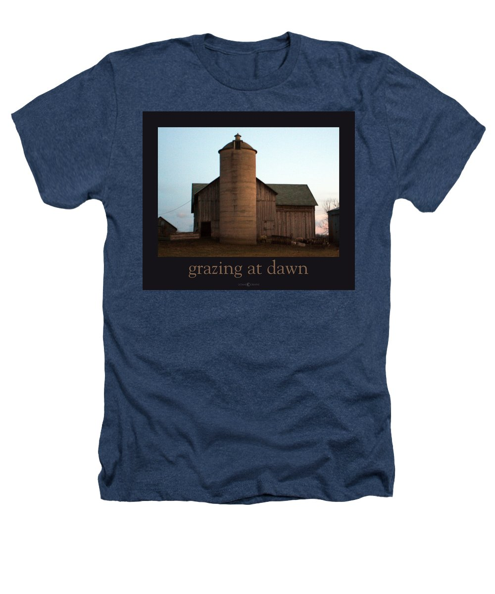 Barn Heathers T-Shirt featuring the photograph Grazing At Dawn by Tim Nyberg