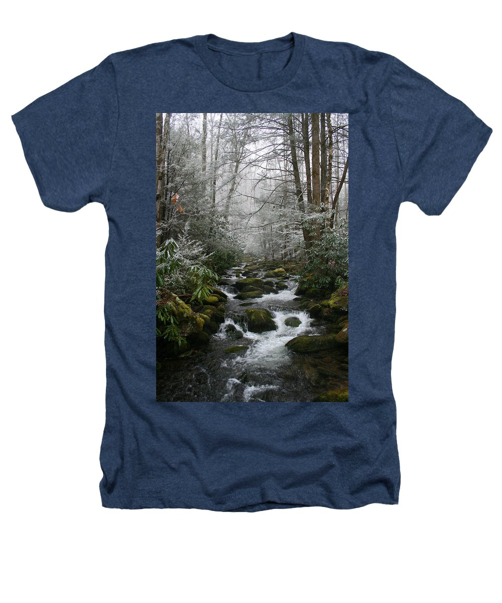 Green Snow Tree Trees Winter Stream River Creek Water Stone Rock Flow Boulder Forest Woods Cold Heathers T-Shirt featuring the photograph Green And White by Andrei Shliakhau