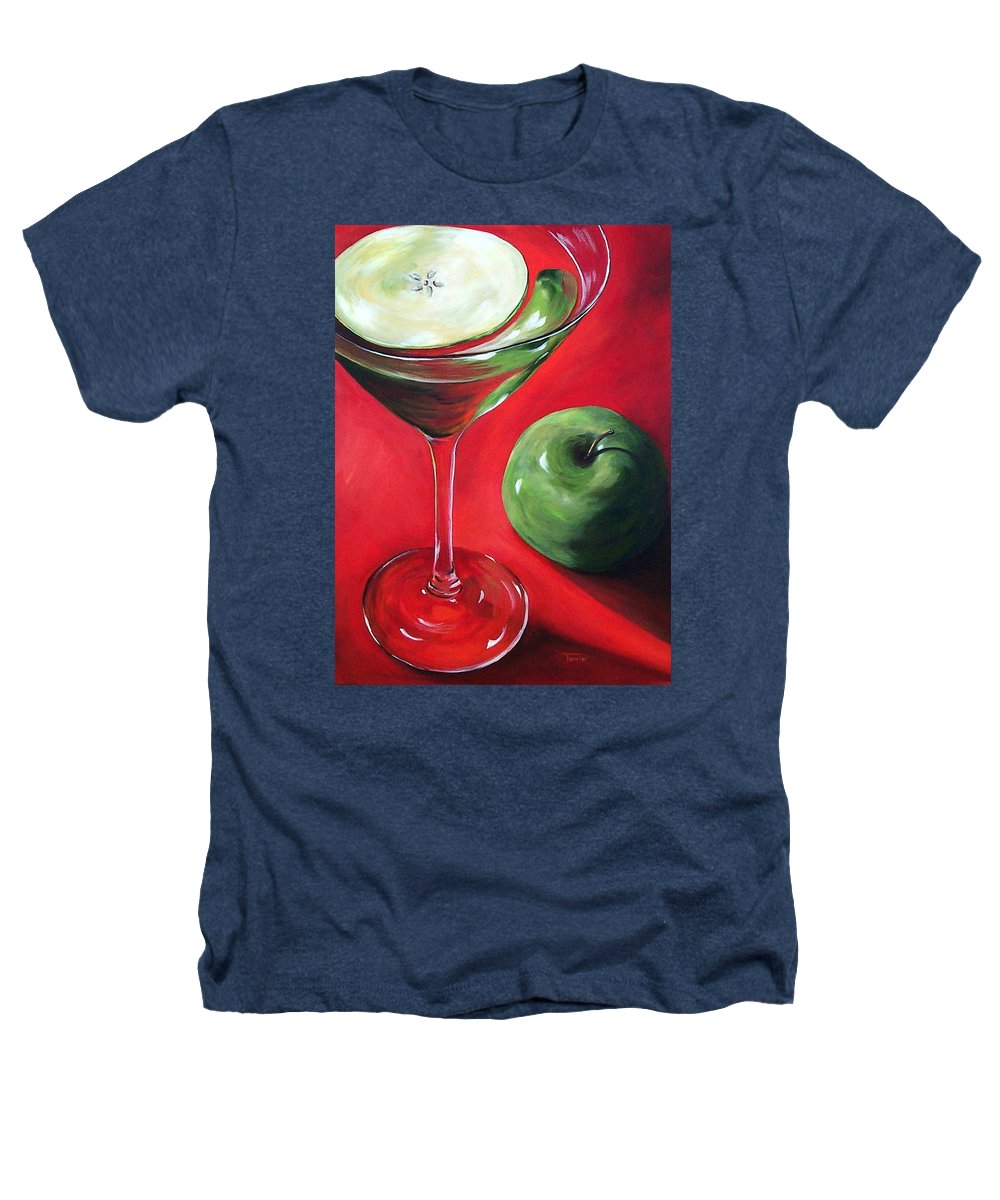 Martini Heathers T-Shirt featuring the painting Green Apple Martini by Torrie Smiley