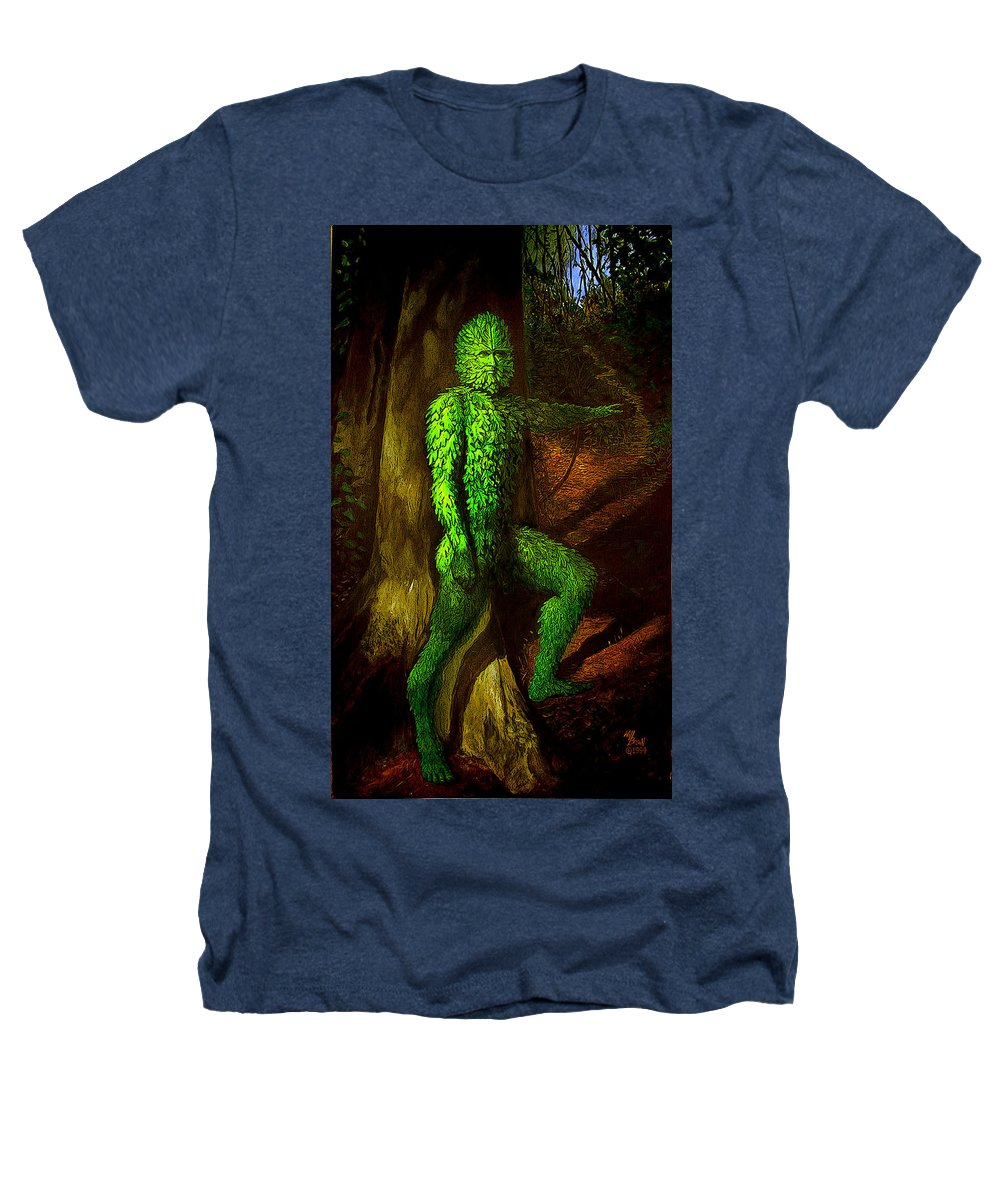 Myth Heathers T-Shirt featuring the mixed media Greenman by Will Brown
