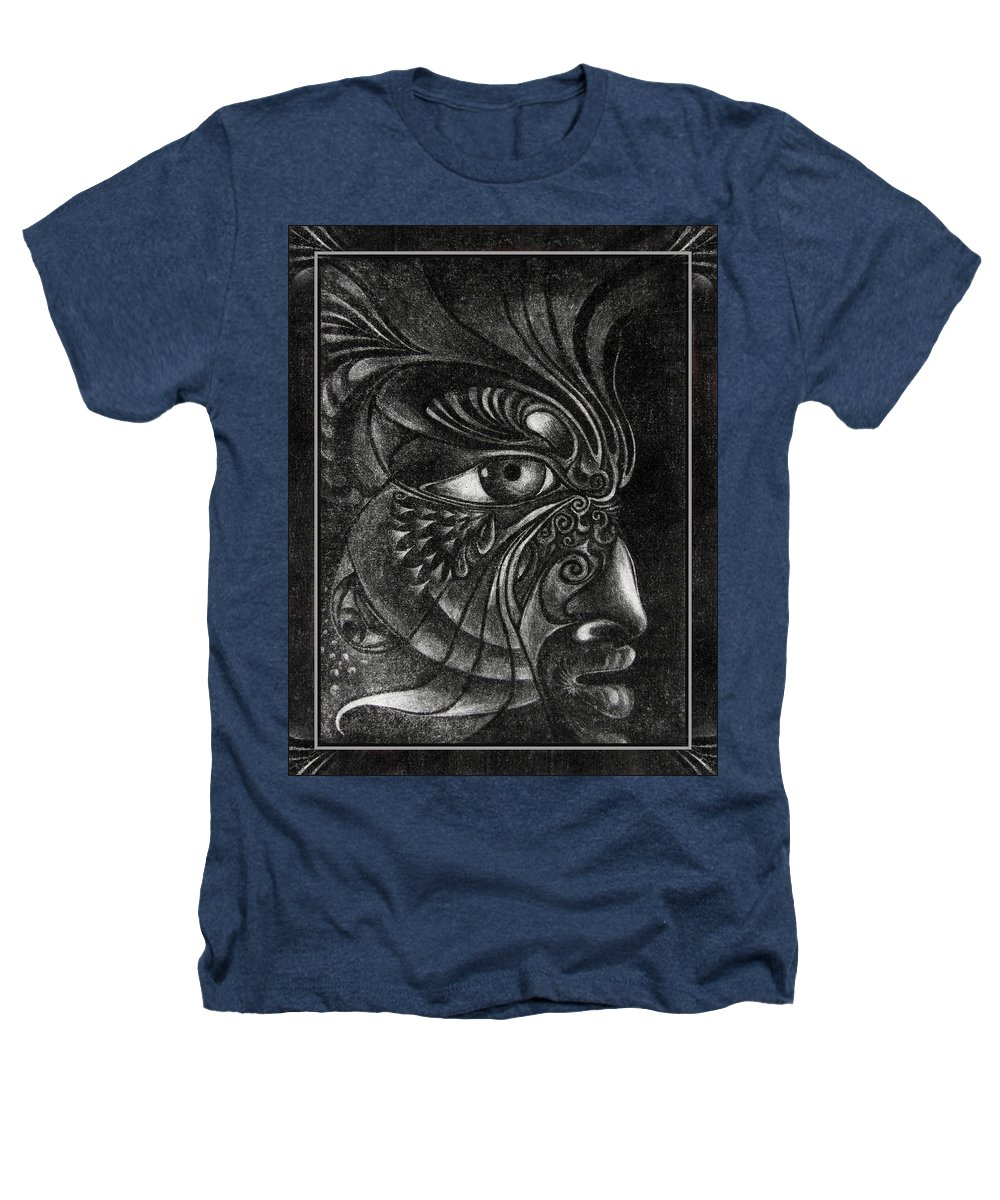 Mezzotint Heathers T-Shirt featuring the drawing Guardian Cherub by Otto Rapp