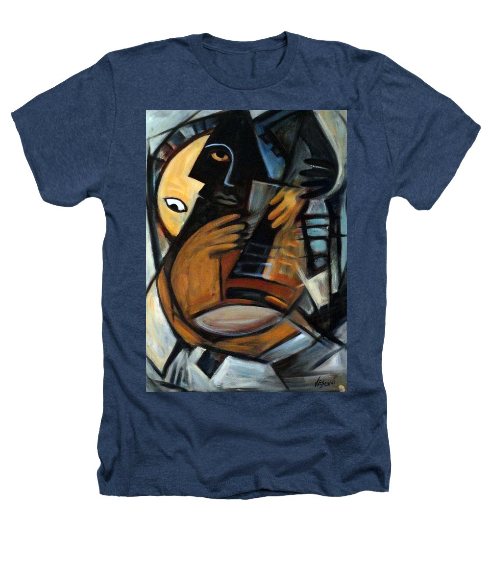 Cubism Heathers T-Shirt featuring the painting Guitarist by Valerie Vescovi