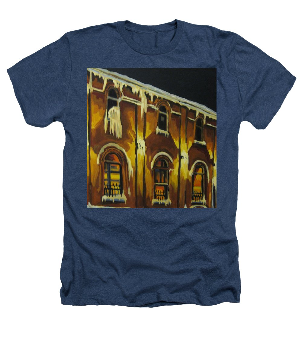 Urban Landscapes Heathers T-Shirt featuring the painting Halifax Ale House In Ice by John Malone