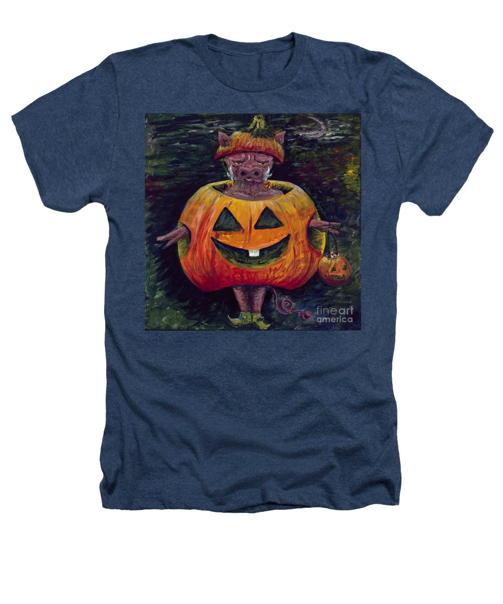 Halloween Heathers T-Shirt featuring the painting Halloween Hog by Nadine Rippelmeyer