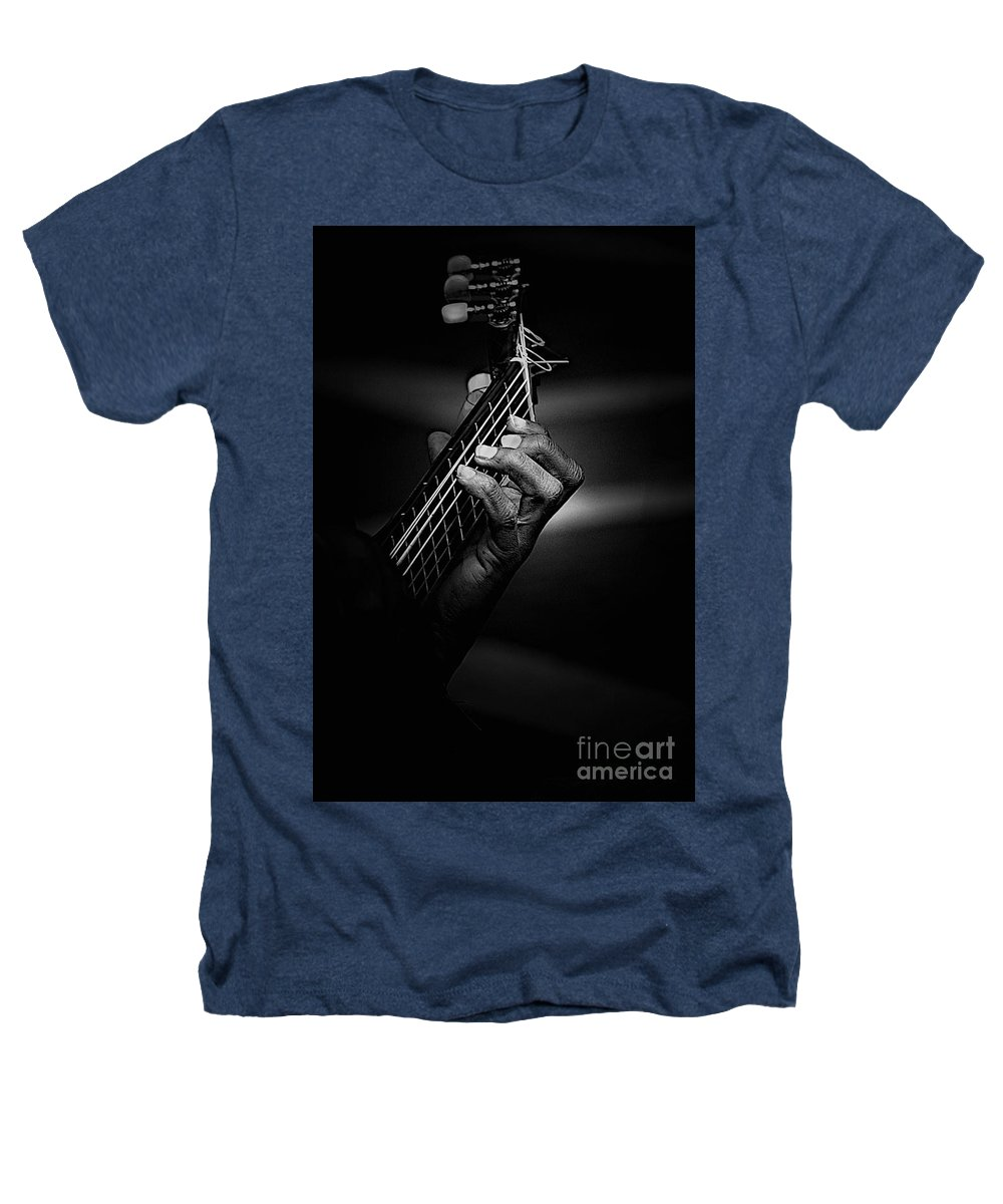 Guitar Heathers T-Shirt featuring the photograph Hand Of A Guitarist In Monochrome by Avalon Fine Art Photography