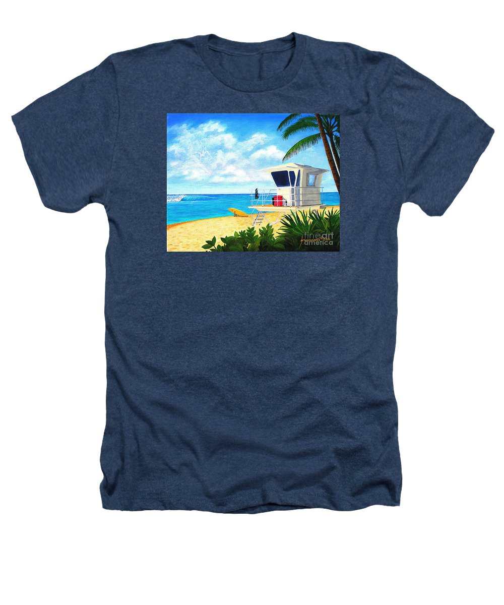 Hawaii Heathers T-Shirt featuring the painting Hawaii North Shore Banzai Pipeline by Jerome Stumphauzer
