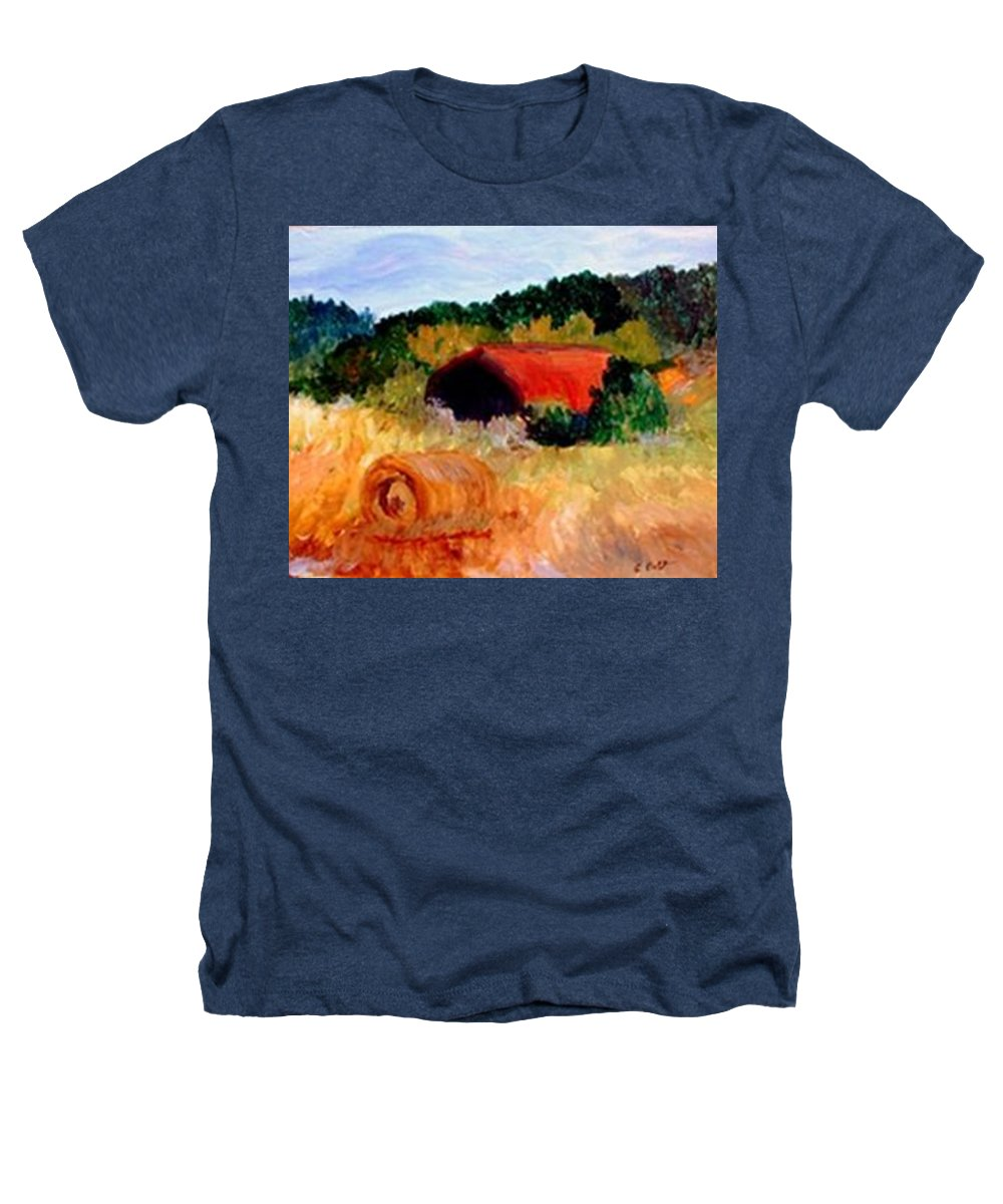 Hayrolls Heathers T-Shirt featuring the painting Hayrolls by Gail Kirtz